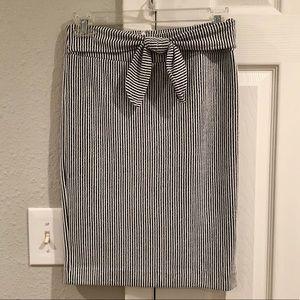 Ann Taylor Tie Waist Striped Pencil Skirt in Navy